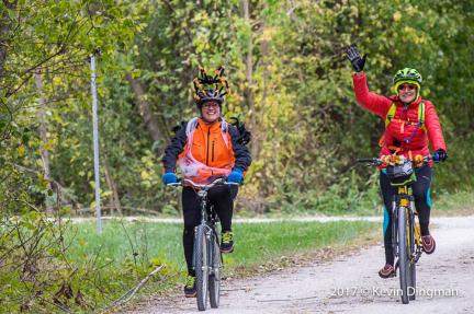 Katy Trail Bike Bash coming into Katfish Kate's Karen Marna 2017-10-28