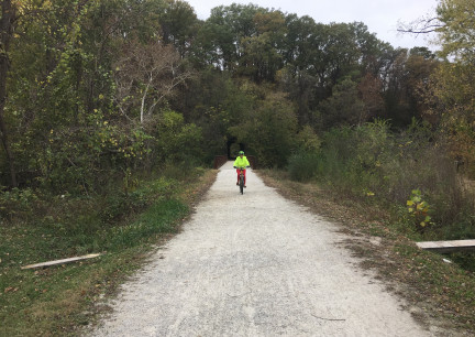 Marna Riding Katy Trail 2017-10-27