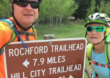 Marna Deron at the Mysitc Trailhead Mickelson Trail 2016-06-01